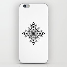 #8 Geometric Abstract Floral Ornament - Black And White iPhone Skin
