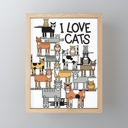 I Love Cats Framed Mini Art Print