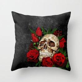 Red Rose Sugar skull Throw Pillow