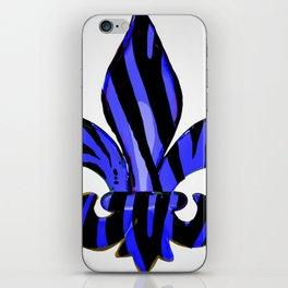 Fleur De Lis Blue Zebra Print iPhone Skin