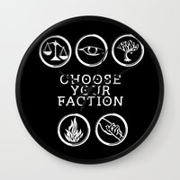 divergent Wall Clocks featuring Divergent - Choose Your Faction (White) by Lunil