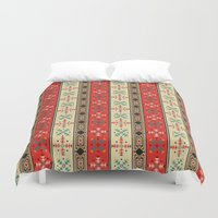 blanket Duvet Covers featuring Sioux Blanket by Robin Curtiss