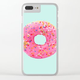 Giant Donut on Mint Clear iPhone Case