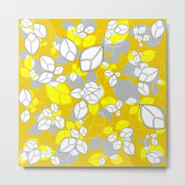 Leafs in Yellow Metal Print