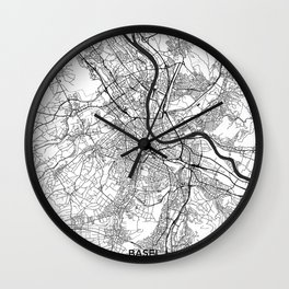 Basel Map Gray Wall Clock