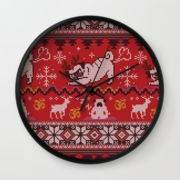Pugly Yoga X-Mas Wall Clock
