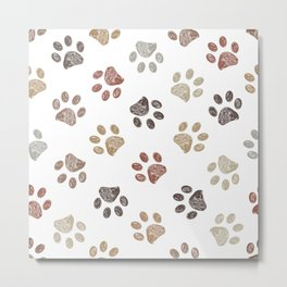 Doodle brown paw print seamless fabric design repeated pattern background Metal Print