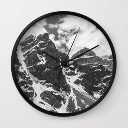Mountains Black and White Photography Landscape Wall Clock