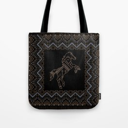 Ethnic pattern with a horse and american indian traditional ornament in brown and blue colors. Tote Bag