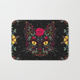 Day of the Dead Kitty Cat Sugar Skull Bath Mat