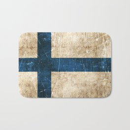 Vintage Aged and Scratched Finnish Flag Bath Mat