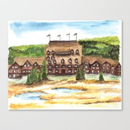Old Faithful Inn Art, Yellowstone Painting, Birds and Berry Studio Canvas Print