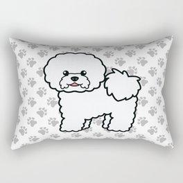 Cute White Bichon Frise Dog Cartoon Illustration Rectangular Pillow
