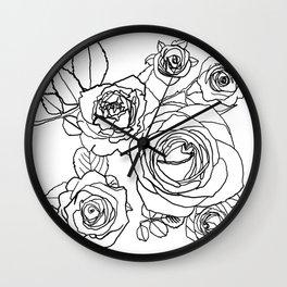 Feminine and Romantic Rose Pattern Line Work Illustration Wall Clock