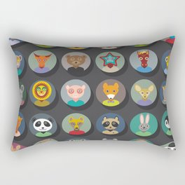 animals faces circle icons set in Trendy Flat Style. zoo Rectangular Pillow