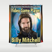 rare Shower Curtains featuring Billy Mitchell card (rare) by The Walter Day Collection