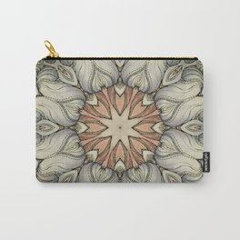 abstract flowers hand drawn and  kaleidoscope mandala Carry-All Pouch