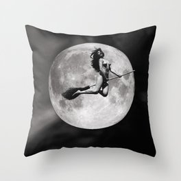 Broom Ride Throw Pillow