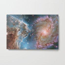 Eagle Nebula and Spiral Galaxy Deep Space Telescopic Photograph Metal Print