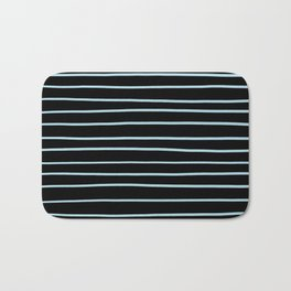 VA Healing Aire Blue - Angelic Blue - Soothing Blue Hand Drawn Horizontal Lines on Black Bath Mat
