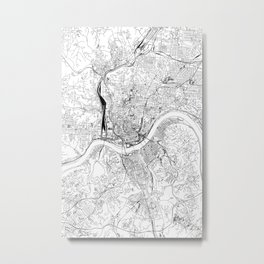 Cincinnati White Map Metal Print