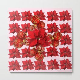 RED POINSETTIA FLOWERS  ORNAMENTS CHRISTMAS ART Metal Print