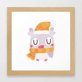 Snuggly Winter Owl Framed Art Print