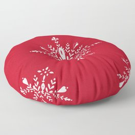 Large snowflakes on Christmas red Floor Pillow