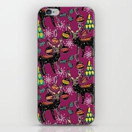 festive deer purple iPhone Skin