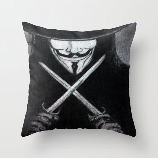 V for Vendetta  (by Esin )5 Throw Pillow