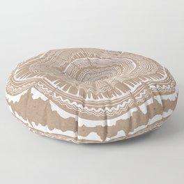 Tree Rings – White Ink on Kraft Floor Pillow