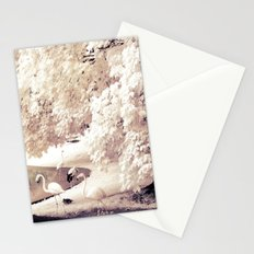 Infrared Trees Nature Landscape With Flamingos Stationery Cards