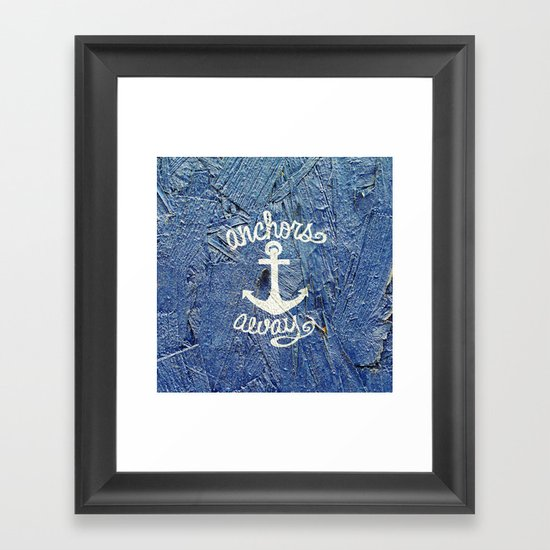 White Nautical Anchors Blue Vintage Wood Texture Framed Art Print