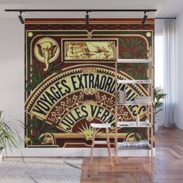 Jules Verne Voyages Extraordinaire Red Lithographic Print by Jeanpaul Ferro Wall Mural