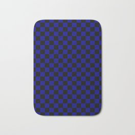 Black and Navy Blue Checkerboard Bath Mat