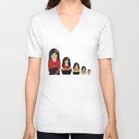 burlesque V-neck T-shirts featuring Burlesque Stripper Russian Doll by Yana Elkassova