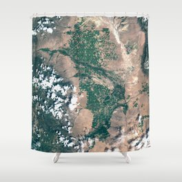 San Juan Valley, Colorado from space Shower Curtain