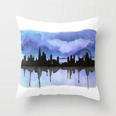 London Skyline 2 Blue Throw Pillow