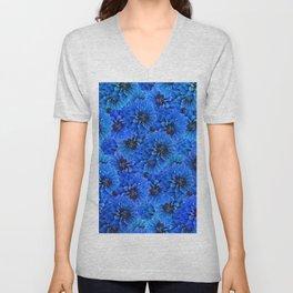 Dahlias in a brilliant blue Unisex V-Neck