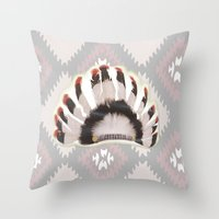 headdress Throw Pillows featuring Headdress by Ezgi Kaya
