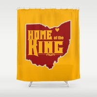 lebron Shower Curtains featuring Home of the King (Yellow) by Denise Zavagno