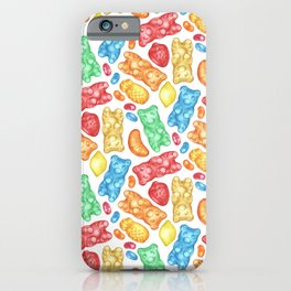 Gummies Galore - A rainbow of hand-drawn fruity flavored gummies and jelly beans iPhone Case