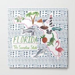 Handpainted Watercolor Map of Florida Metal Print