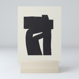 Black & White Minimalist Abstract Shapes Patterns Black Ink Painting Mini Art Print