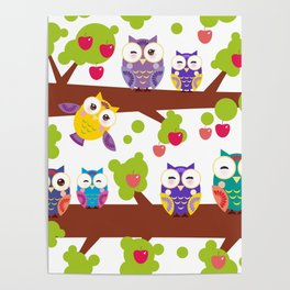 bright colorful owls on the branch of a tree with red apples Poster