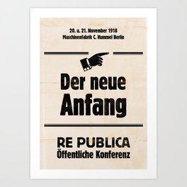 re:trospektive 1918: Der neue Anfang Art Print
