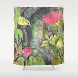 'Amakihi, 'Apapane and Maui 'Alahuio  Shower Curtain