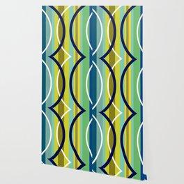 Midcentury Modernism Stripes & Circles Wallpaper