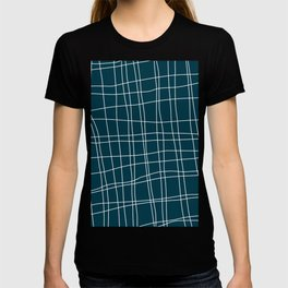 Criss Cross Deep Teal and White T-shirt