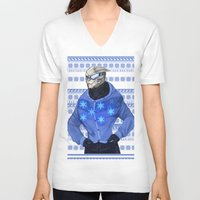 garrus V-neck T-shirts featuring Advances in Christmas Sweaters - Garrus by Weissidian